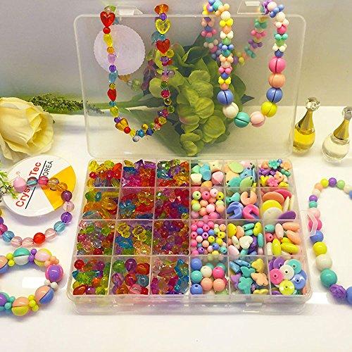 Preisvergleich Produktbild spritech (TM) Colorful Girl 's Besaitung Perlen Spielzeug DIY Schmuck für Kinder Halskette und Armband Crafts Einheitsgröße Style-1