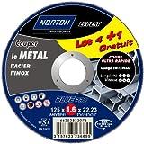 Norton Lot de 4 + 1 Meules tronçonnage métal 125 x 1,6 x 22,2 mm