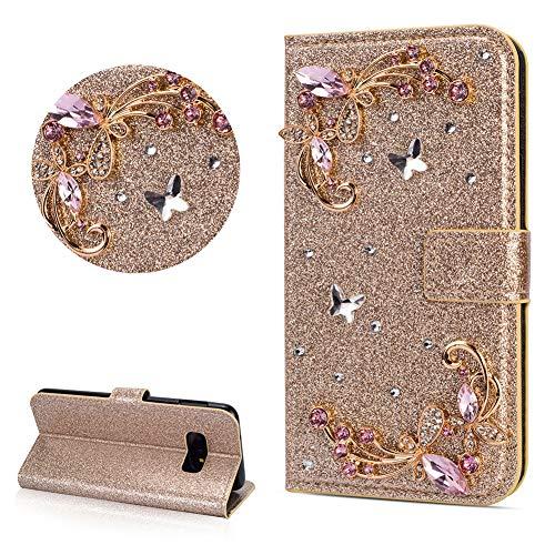 DasKAn Diamant Glitzer Leder Hülle für Samsung Galaxy S10, Schmetterling Blumen Strass Magnetisch Klapphülle Handy Tasche mit Kartenfach Standfunktion Stoßfest Brieftasche Schutzhülle,Gold