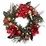 Valery Madelyn 51cm Large Pre-Lit Luxury Red Gold Christmas Wreath with Remote Timer 8 Modes 20 LED Lights, Decorated with Ball Ornaments, Ribbon, Artificial Flower, Berry, Battery Operated