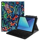 Fintie Tastatur Hülle für Samsung Galaxy Tab S3 T820 / T825 (9,68 Zoll) Tablet-PC - Ultradünn leicht Schutzhülle mit magnetisch Abnehmbarer drahtloser Deutscher Bluetooth Tastatur, Dschungelnacht