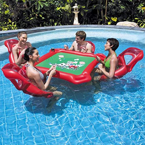 WYJHNL Luftmatratze Wasser Aufblasbarer Gaming Tisch mit 4 Stühlen Set Pool Spielzeug Ideal für Poolparty Pokerspiele - Erwachsenen Spiel, Mit Stühlen Tisch