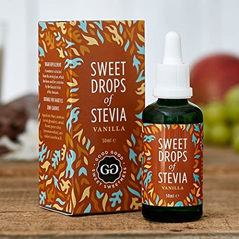 Vanilla Sweet Drops of Stevia by Good Good (1.7 Fl oz / 50ml) - Select from 11 Flavors! Sugar Free and All Natural! Diabetic Friendly! Perfect With The Morning Coffee, Tea, Smoothie, Yoghurt or Oats!Sugar Free Substitute and All Natural! Diabetic Friendly! Zero Calorie Stevia Drops Sweetener