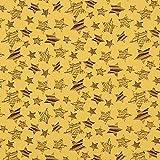 Fabulous Fabrics Musselin Sterne 8 – senf — Meterware ab 0,5m — zum Nähen von Kinderbekleidung, Babybekleidung und Blusen und Hemden
