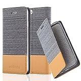 Cadorabo Hülle für Apple iPhone 6 / iPhone 6S - Hülle in HELL GRAU BRAUN – Handyhülle mit Standfunktion und Kartenfach im Stoff Design - Case Cover Schutzhülle Etui Tasche Book