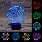 CGBOOM 3D-Fußball Licht 7 Farb-LED-Berührungsschalter mit USB-Schnittstelle geeignet für Familie Hochzeit Weihnachtsfeier Dekoration Geschenke