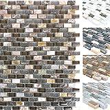 Mosaikfliesen Muschel Glas Naturstein Jasmina | Wand-Mosaik | Mosaik-Fliesen | Naturstein-Mosaik | Fliesen-Bordüre | Ideal für den Wohnbereich und fürs Badezimmer (auch als Muster erhältlich) (Muster, Dunkelbraun)