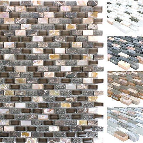 Mosaikfliesen Muschel Glas Naturstein Jasmina | Wand Mosaik | Mosaik Fliesen  | Naturstein Mosaik | Fliesen Bordüre | Ideal Für Den Wohnbereich Und Fürs  ...