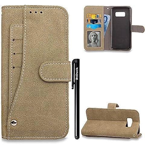 BtDuck Leather Solid color Case Samsung Galaxy S8 Plus Gray