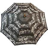 Parapluie Adulte Noir - Motif Partition de Piano - Manuel - Manche en Bois