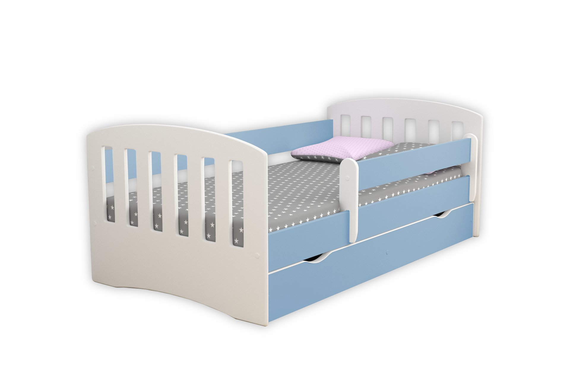 Children's Beds Home Single Bed Classic 1 - For Kids Children Toddler Junior No Mattress and No Drawers Included (Blue, 140x80) Children's Beds Home Bed with barriers - Internal Dimensions 140x80 160x80 180x80 (Externally: 144x90 164x90 184x90) Bed frame with load capacity of 120 kg, Fittings, Installation Instructions, Wodden Slats Included Universal bed entrance - right or left side, front barrier can be removed at later stage. 1
