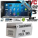 VW Polo 9N3 - Autoradio Radio JVC KW-V235DBTE - DVD | Bluetooth | DAB+ | CD | MP3 | USB | Android | iPhone | 2-Din - Einbauzubehör - Einbauset