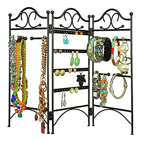 MyGift 3-Panel Folding Screen Jewelry Hanger, Earrings, Bracelets, Necklaces Organizer Display