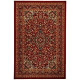 5' x 6'6\ , Red : Anti-Bacterial Rubber Back AREA RUGS Non-Skid/Slip 5x7 Floor Rug | Red Traditional Floral Garden Indoor/Outdoor Thin Low Profile Living Room Kitchen Hallways Home Decorative Traditional Area Rug