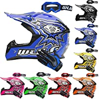 Wulfsport Flite Children Kids Motocross HELMET + WULF GOGGLES & GLOVES Kids Dirt Bike ATV Helmet - Blue S