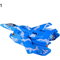 WIN86haib Kids Children Transformation Tank Plane Car Train Toy Light Sound Robot Model