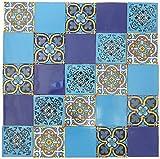Pack of 25 Assorted Talavera Mexican Handmade 10.5cm Tiles: 'Azul Brillante'