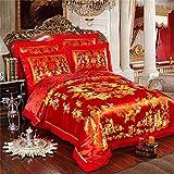 KEOA 4-Teiliges Hochzeit BettwäSche-Sets, Volle GrößE Chinesischer Drache Und Phoenix Satin Spitze Bettbezug Set Super Weiche Atmungsaktive,C