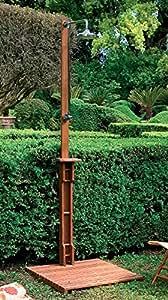 douche de jardin ext rieur pour piscine en bois balau avec plateforme et pommeau jardin. Black Bedroom Furniture Sets. Home Design Ideas