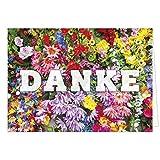 Große Dankeskarte XXL (A4) als Dankeschön/Viele Blumen als Foto/mit Umschlag/Edle Design Klappkarte/Danke sagen/Danksagung/Danke sehr/Extra Groß/Edle Maxi Gruß-Karte