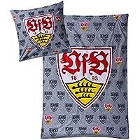 VfB Stuttgart Bettwäsche 100% Baumwolle Kissen 80x80cm Decke 135x200 cm Design WAPPEN grau