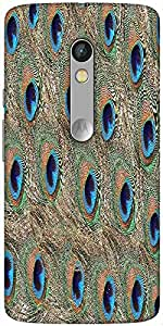 Snoogg Peacock Feathers Hard Back Case Cover Shield For Motorola X Play