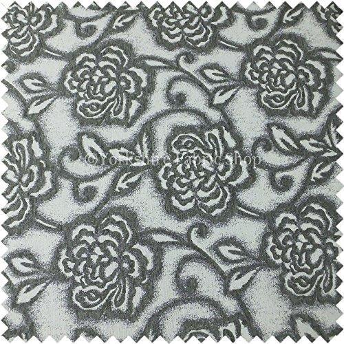 Yorkshire Fabric Shop Groß Floral Design-Muster in grau ist strukturiert Farbe Langlebig Chenille Innendekoration Möbel Vorhang Stoffe - Strukturierte Chenille