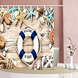 GAOFENFFR Rideau Douche Nautique Moderne pour la bouée Sauvetage Marine Ocean Ocean Bath avec l'étoile mer Seashell sur Le Tissu en Bois en Polyester, Le Bain étanche aux Crochets 180X180CM