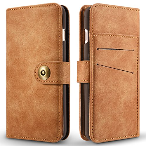 Hülle und Brieftasche,VENTER®removable protective sleeve, 2 positioning options, RFID protection, high-quality vegan leather, gift wrapping für Apple Iphone 7 Plus Kamel