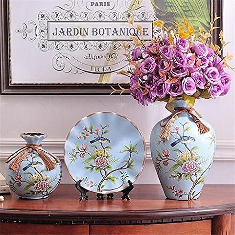 Vase de table en céramique avec fleurs Creative Style européen trois Ensembles Home Salon Décoration Marry Cadeau Arrangement de fleurs Flowerware Luxueux Décorations Beauté Bouteille
