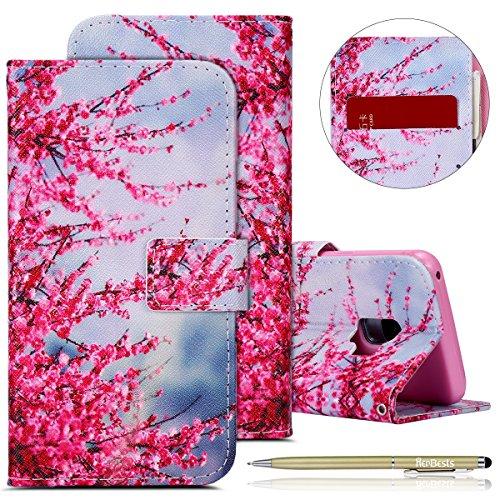 Kompatibel mit Handytasche Galaxy S9 Leder Handy Schutzhülle Leder Wallet Tasche Brieftasche Leder Klapphülle Lederhülle, Galaxy S9 Retro Vintage Bunt Muster Malerei Lanyard St