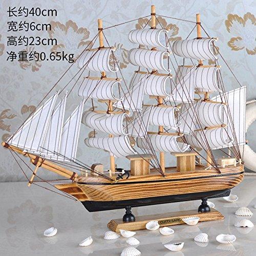 Lx.AZ.Kx Ornamente reibungslose Segelschiff Ornamente Modell europäischen Stil mit Holz- Emulation kleines Geschenk Schiff Modelc 1 Streifen stetig Yachtcharter (40 cm)