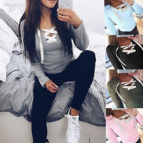 Hibote Femme Chemises à Manches Longues T-Shirt Femmes Chemise Slim Fit Top avec Cordon Couleur Unie Blouses Casual Tops Gris