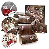 48 kleine Geschenkschachteln Geschenk-Boxen Kartons Holz Optik braun mit Aufkleber Adventskalender-Zahlen
