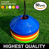 50 Marker Cones & Stand - Highest Quality Available - Multi-Sport Training Marker Cones [Net World Sports]