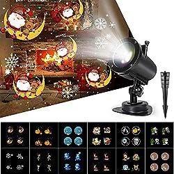 Luces Proyector Navidad LED, 14 Diapositivas Dinámicos Efecto de Luces Proyección, IP65 Impermeable 6H temporizador Lámpara Proyección para Christmas Fiesta Cumpleaños regalo de niños