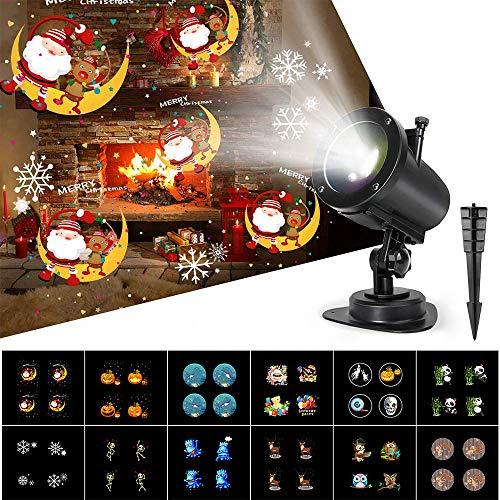 Proiettore Luci Natale Esterno 6 Modalità,Luce Proiettore con 14 Diapositive IP65 Impermeabile,6H Timer,Decorazione Natale,Halloween,Compleanno,San Valentino,Pasqua,Giardino