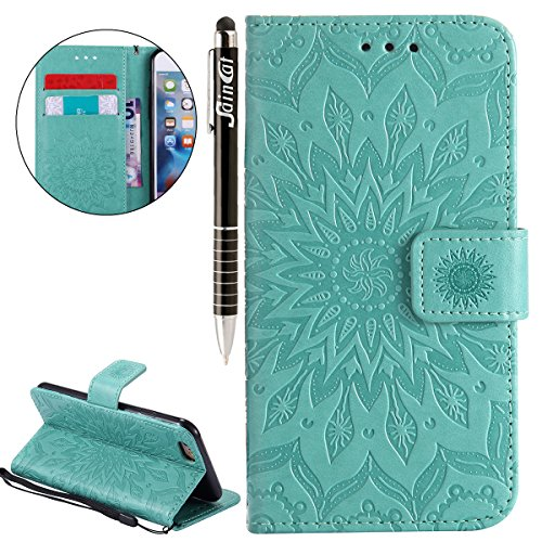 Custodia iPhone 6, iPhone 6S Cover Wallet, SainCat Custodia in Pelle Flip Cover per iPhone 6/6S, 3D Creativa Design Ultra Sottile Anti-Scratch Book Style Custodia Morbida Cover Protettiva Caso PU Leat verde