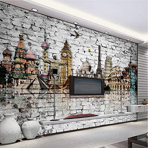 Zybnb Benutzerdefinierte 3D Wandbild Tapete Rolle Klassische Europäische Architektur Eiffelturm Big Ben Freiheitsstatue Brick Wall Paper Murals 3D-400X280Cm