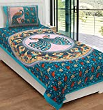 #3: RajasthaniKart Classic 144 TC Cotton Single Bedsheet with Pillow Cover - Abstract, Green