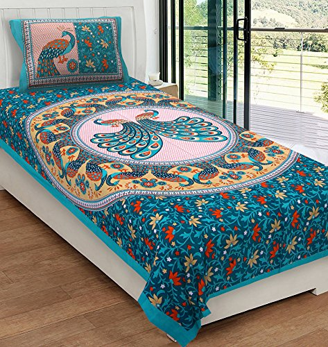 RajasthaniKart Classic 144 TC Cotton Single Bedsheet with Pillow Cover - Abstract, Green