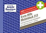 AVERY Zweckform 313 erste Hilfe Meldeblock (A6 quer, 50 Originale) 50 Blatt, weiß