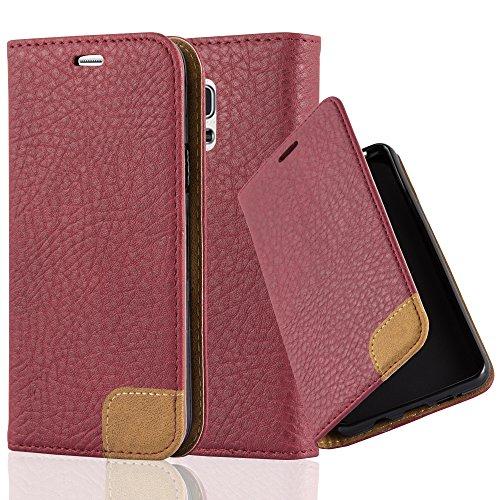 Cadorabo Hülle für Samsung Galaxy S5 Mini / S5 Mini DUOS - Hülle in Herbst ROT – Handyhülle mit Standfunktion, Kartenfach und Textil-Patch - Case Cover Schutzhülle Etui Tasche Book Klapp Style