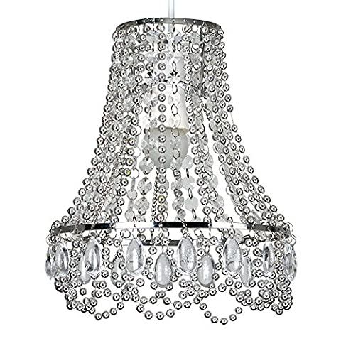 Modern Chrome Ceiling Pendant Light Shade with Clear Acrylic Jewel Effect Droplets & Beads