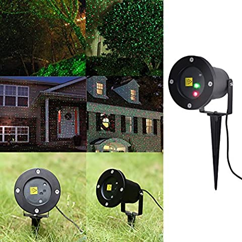Lampwin - RGB Gartenleuchte mit Erdspieß (Eingebauter Lichtsensor, Rot, Grün, Rot Grün, Wireless Remote, Multi-Mode Optional, Timing Funktionen, IP65 Wasserdicht, Eingebauter Lichtsensor, Für Patio, Rasen, Garten, Festen, Weihnachten)