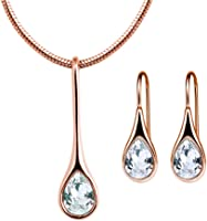 Mestige MSSE3213 Women's Rose Gold Diamond Necklace and Earring Set