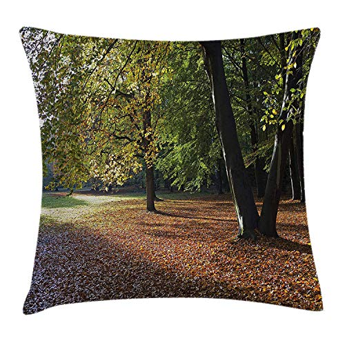 Trsdshorts Nature Throw Pillow Cushion Cover, Tranquil Tiergarten in Berlin Germany Forest Sightseeing Urban View Autumn Season, Decorative Square Accent Pillow Case, 24 X 24 inches, Green Orange