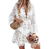 Cozyan Vestiti Donna Copricostume Donna a Manica Lunga Abito da Spiaggia Sexy Elegante Bikini Cover Up in Pizzo Abito da Spia