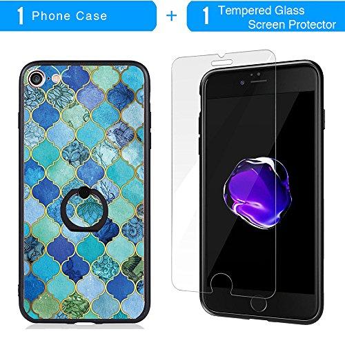 Coque iPhone 7, TrendyBox Transparent Noir Givré Anti-rayures Rotation Bague Case pour iPhone 7 avec verre trempe film de protection (Dentelle Fleurs) 1017
