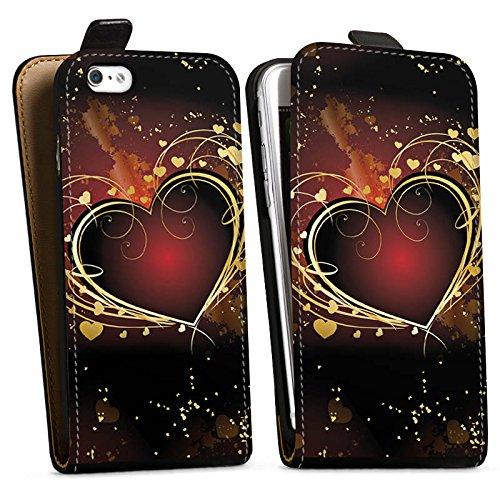 Apple iPhone X Silikon Hülle Case Schutzhülle Verliebt Herz Liebe Downflip Tasche schwarz